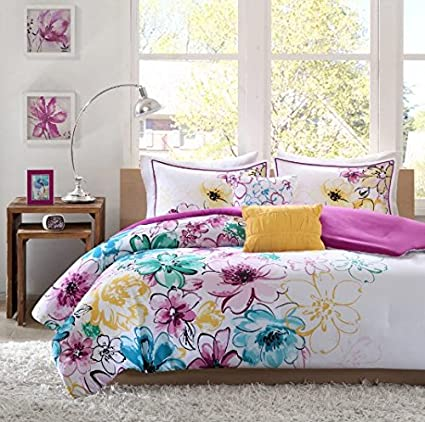5 Piece Girls Floral Themed Comforter Full Queen Set, Pretty Abstract  Flower Pattern, Beautiful