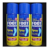 3 Cans Foot Powder Spray Relieves Odor Wetness Moisture Absorbent Cools Comforts feet