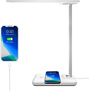 AOBISI LED Desk Lamp with Wireless Charging&USB Charging port, Eye-caring Dimmable Office Desk Lamp, Touch Control, 3 Lighting Modes 6 Brightness Levels table lamp for Reading, Study(Adapter included)