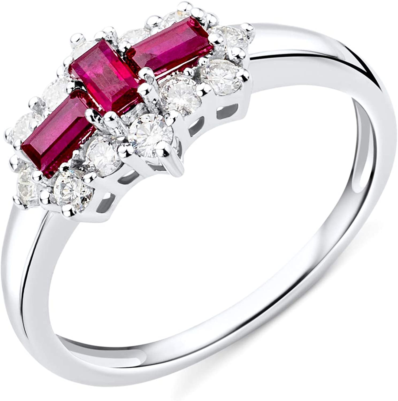 Miore - Anillo de compromiso para mujer de oro blanco de 9 quilates y oro 375 con piedras preciosas de Ruby de 0,62 quilates y diamantes de 0,35 quilates