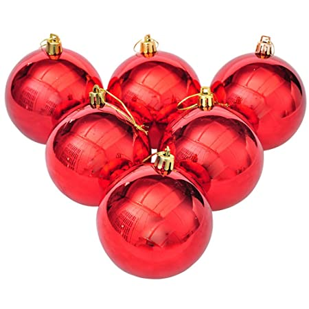 Christmas Tree Decorations Shiny Balls Red Shatterproof Home Baubles  Decorations Hanging Decoration Pack Of 6(