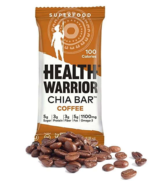 Health Warrior Chia Bars, Coffee, 0.88 Ounce (Pack of 15)