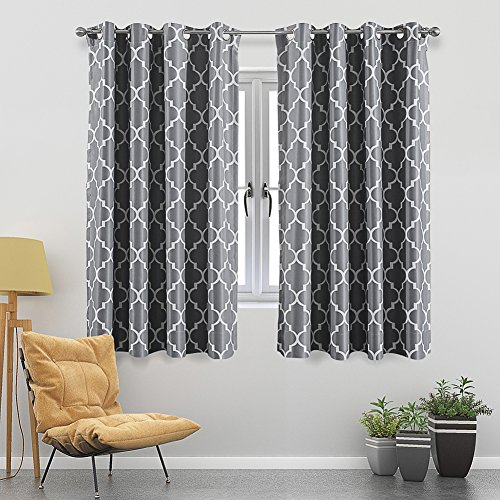 Jaoul Moroccan Blackout Curtains for Living Room Bedroom, Geometric Lattice Print Room Darkening Grommet Drapes, 52 x 63 Inch, 1 Panel (Grey) (Bedroom Moroccan)