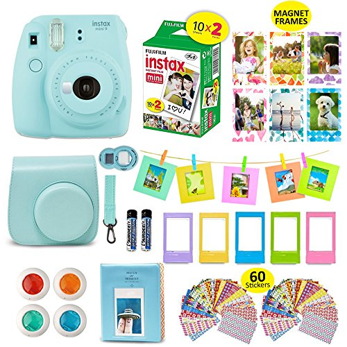 Fujifilm Instax Mini 9 ICE BLUE Camera + 20 Instant Film Twin Pack, + Instax Case + 14 PC Instax Accessories Bundle Kit. Includes; Albums, 4 Color Lenses, Selfie Lens, Frames + 60 Stickers by (Leather Photo Pack)