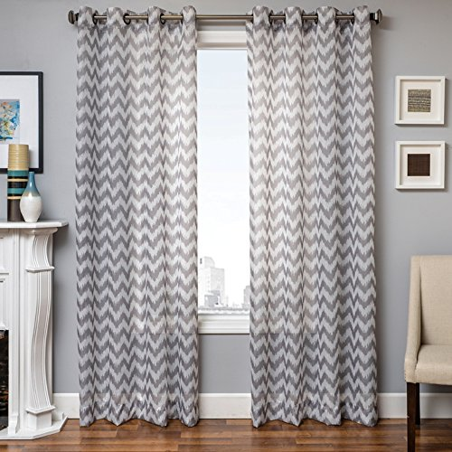 Softline Fortune Series Chevron Striped Window Sheer/Treatment/Panel/Curtain/Drape with Modern Grommet Top Measures 55
