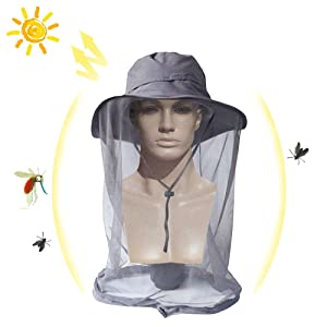 DiDaDi Mosquito Net Head Hat, Sun Hats with Mosquito Netting Face Neck Mask Bucket Hat Cap Protection from Insect Bug Bee Gnats for Outdoor Fishing Beekeeping Gardening Men Women Dad