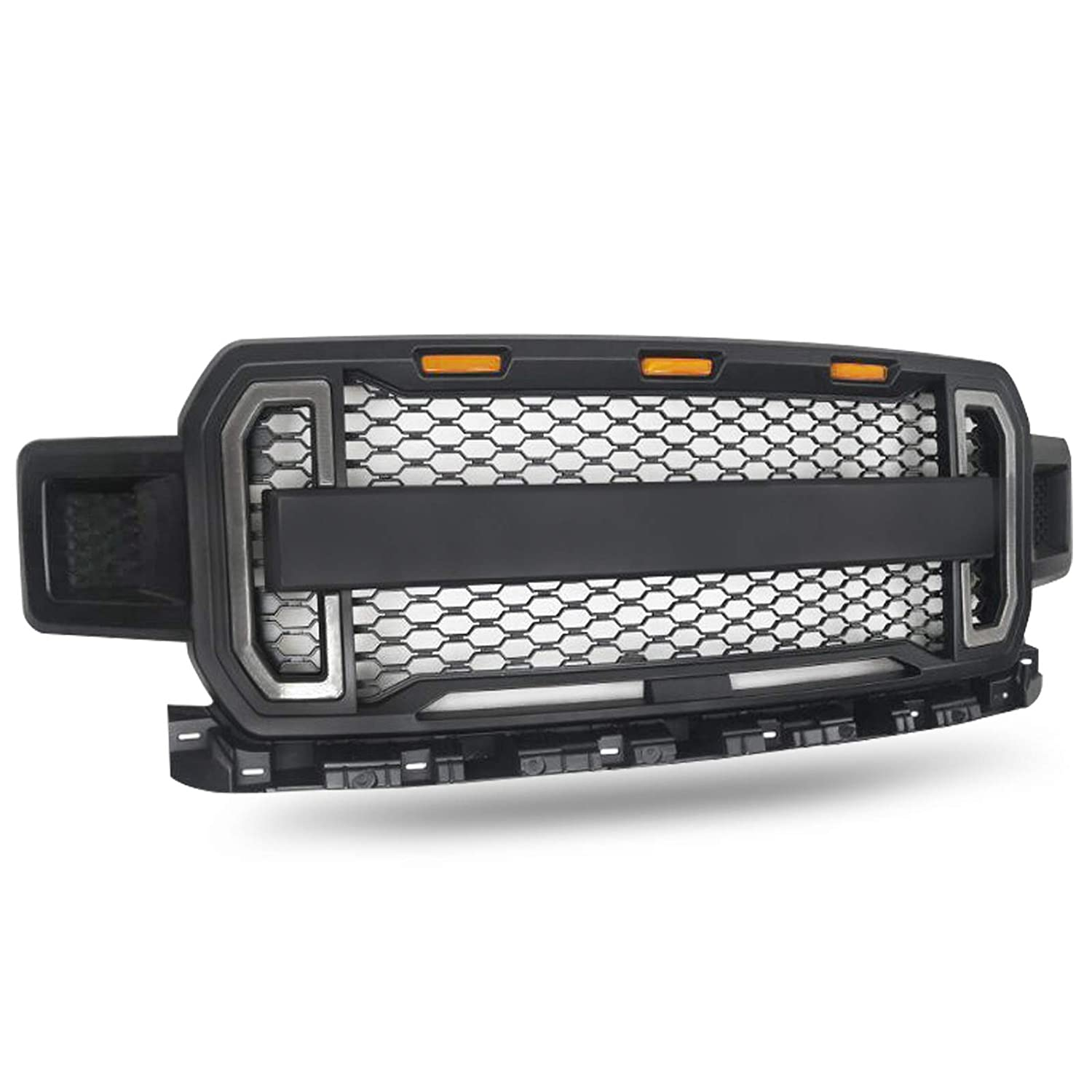 Modifying Front Grille Fits 2018 2019 FORD F150 Style Grill Kits With 3 Amber LED Lights and 2 Side Led Lights