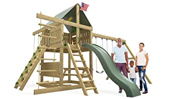 Amazon Com Premier Swing Set 10 Ft Wave Slide Rock Climbing Wall
