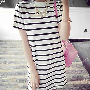 Falda de Manga Larga a Rayas de Moda Camiseta de Belleza Delgada ...