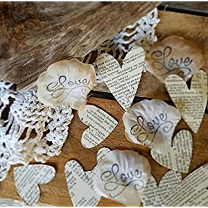 Wedding Rose Petals, Book Theme Wedding Confetti, Table Scatter 12