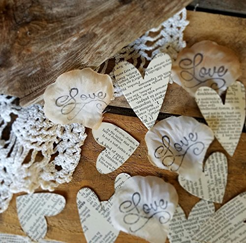 Handmade Silk Rose Petals with Book Page Heart Confetti, Love Story Themed, Vintage, Rustic, Romantic Aisle or Table Scatter DIY Decorations for Weddings, Bridal Showers, Engagements (Page Kit Rose)