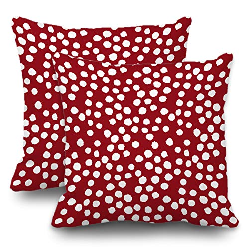 Batmerry Winter Pillow Covers 18x18 Inch Set of 2, Red White Polka Dot Abstract Backdrop Black Circle Double Sided Decorative Pillows Cases Throw Pillows Covers ()