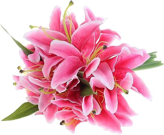 Bouquet Rose-Lys x 36 Fleurs Artificielles intérier//extérieur