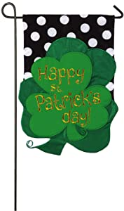 Evergreen St. Patrick's Day Bouquet Applique Garden Flag, 12.5 x 18 inches