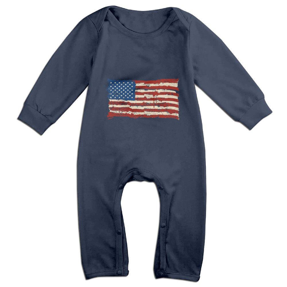 Cute American Flag Romper For Toddler Navy