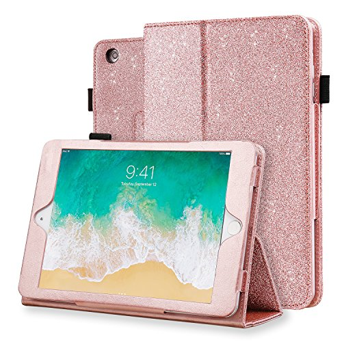 iPad Mini Case, iPad Mini 3 Case, iPad Mini 2 Case, iPad Mini 1 Case, Karidge Glitter PU Faux Leather Folding Stand Pencil Holder Cover Protective Case for Apple iPad Mini 1 / 2 / 3 , Rose Gold
