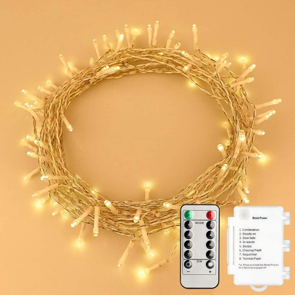 STARKER 36ft 100LEDs String Lights 8 Mode Battery Powered IP65 Waterproof Fairy Lights Remote Control Timer Twinkle Lights for Bedroom, Outdoor,Garden, Patio, Party,Christmas (Warm White, Dimmable)…