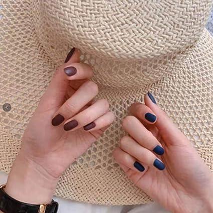 Jovono 24 uñas postizas de color rojo y azul para mujeres y niñas ...