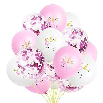 15 globos de unicornio de látex, globo de felicitación de cumpleaños, globo de confeti de oro rosa para decoración de fiestas, bodas, 30,5 cm