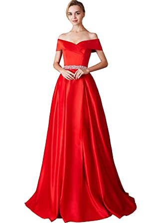 c42f07b0ed66 Women's Satin Slit Prom Dresses Off Shoulder Long Formal Gowns 2019 Red at  Amazon Women's Clothing store: