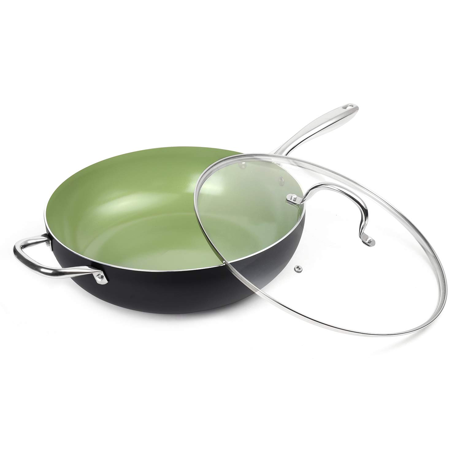 MICHELANGELO 13.5 Inch Woks and Stir Fry Pans, Green Wok with Lid, Large Nonstick Wok Pan with Lid, Induction Wok with Lid, Large Nonstick Wok Flat Bottom - 13 Inch