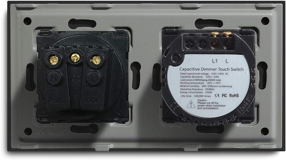 Adaptador Led requerido BSEED Interruptor regulador de luz con enchufe 1 Gang 1 Way LED Dimmer Switch,16A a 250V Enchufe de pared,Schuko Enchufe Interruptor de luz con pantalla t/áctil Blanco