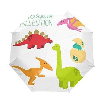JIUMEI Colorido Lindo Dinosaurio Colección para Niños DE 38 Pulgadas Paraguas Protección UV Auto Abierto Cerrado
