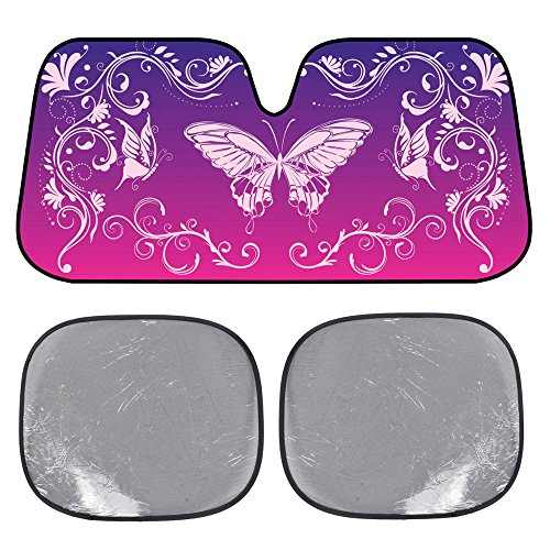 BDK USA Swirl Butterfly SunShade - Mystic Butterflies - Folding Accordion with Static Cling Sun Shade