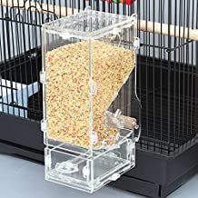 No Mess Bird Feeder Parrot Integrated Automatic Feeder with Perch Cage Accessories for Budgerigar Canary Cockatiel Finch Parakeet Seed Food Container