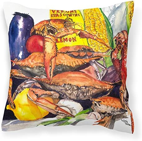 Caroline s Treasures 1016PW1414 Veron s and Crabs Decorative Canvas Fabric Pillow, 14Hx14W, Multicolor