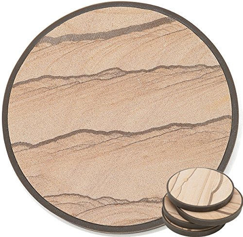 Natural Absorbent Coasters Sandstone (Stone Coasters in Protective Casing - Absorb Excess Drinks Sweat, Prevent Scratch To Furniture, Each Absorbent Sandstone Sit In A Detachable Table Friendly Non Slip Back Cover, Set of 4 With NO Holder)