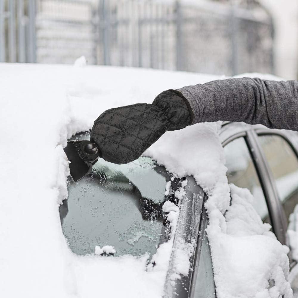 Winter Kratzer Eiskratzer mit Besen F/ür Auto Windschutzscheibe Schneeschaufel Eisschaber 2PCS Eisschaber mit Handschuhen Vivibel Eiskratzer Auto wasserdichte Warme Eiskratzerhandschuh Innen Velours