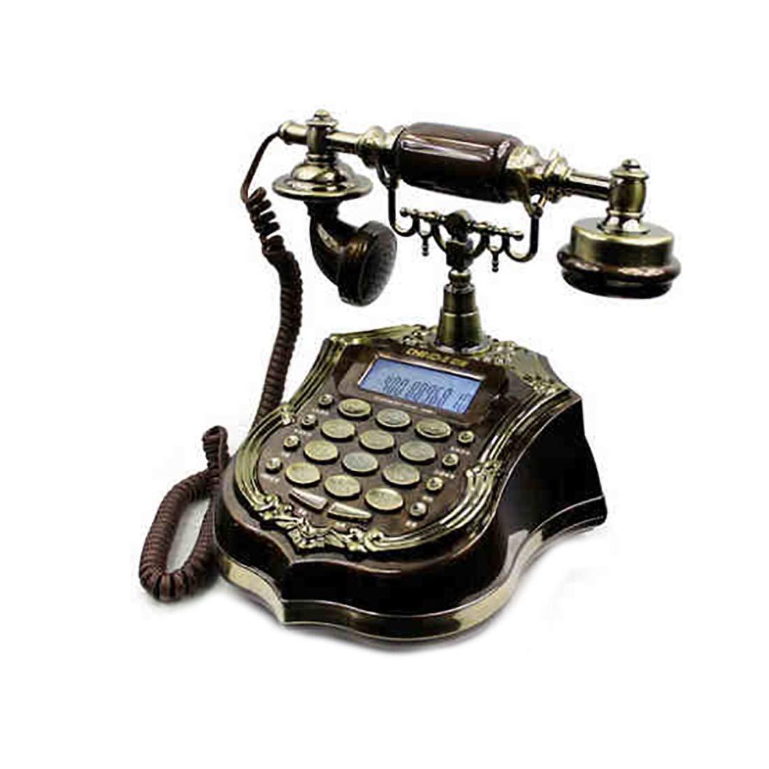 ZHILIAN Bronze European Retro Telephone Landline Home Fixed Telephone Metal Frame and Natural Resin