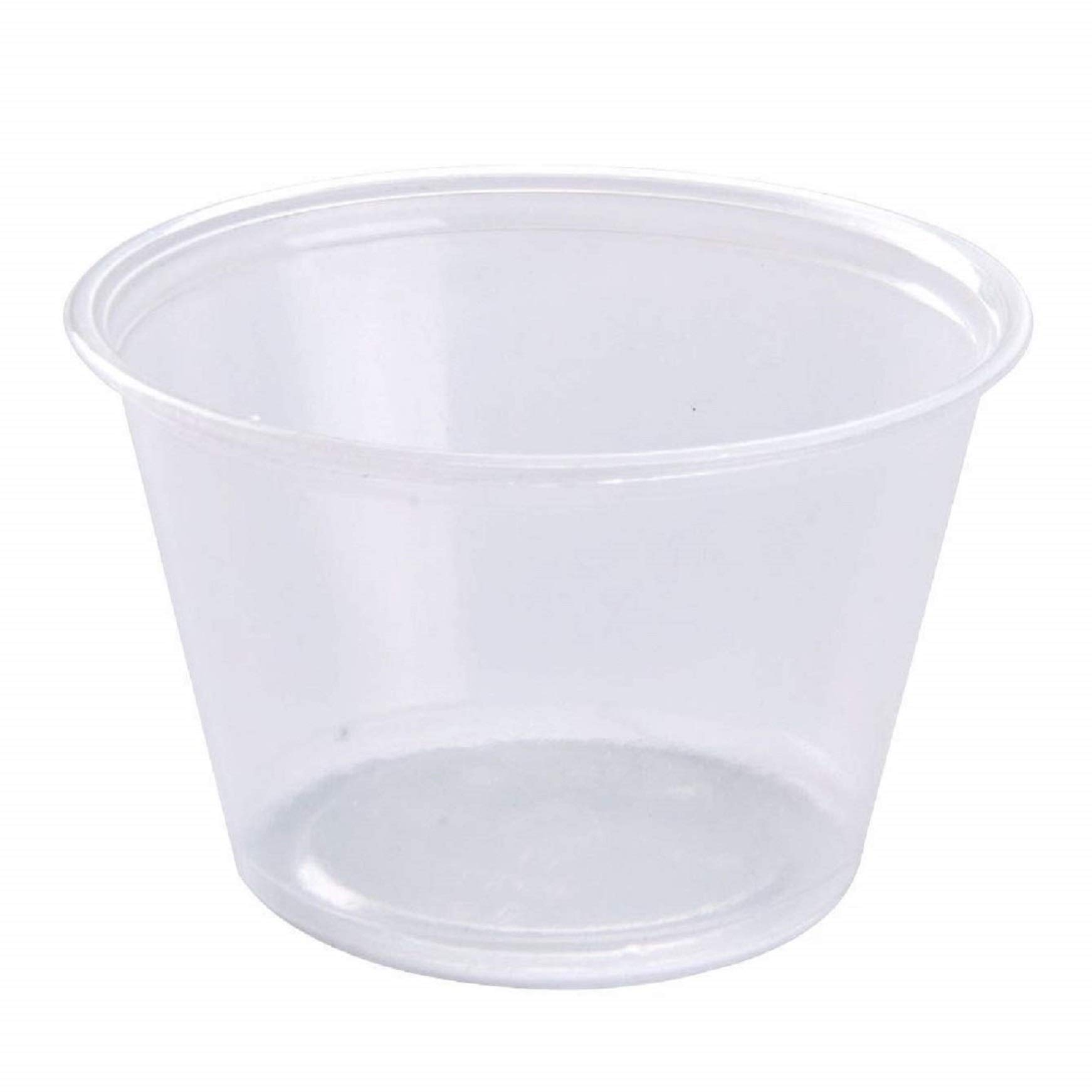Disposable Souffle Portion Plastic Cups 4 Oz Clear Food Storage Condiments Container Perfect for Sauces Dips Salsa or Other Food Samples (Pack of 200) by The Baker Celebrations