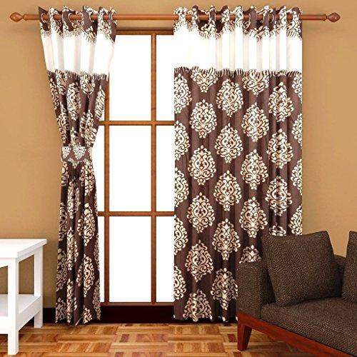 Super India Maharaja Polyster 2pcs printed curtains brown 4feet X 9feet