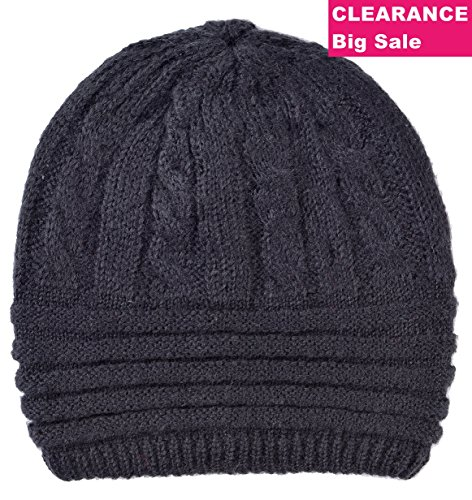 LINKED MODA Knit Beanie Hat Cap Headwear - Reversible Black Heather Christmas Scarf Gift Earmuff Black Scarf (Black Reversible Skull Cap)