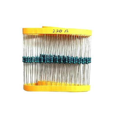 100 Stk x Widerstand 220R 220Ohm 0.6W auch 0.25W 0.5W Metall film 1/%#A2456