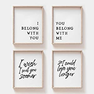 MoharWall Bedroom Wall Art Quotes Decor Poster I Belong with You You Belong with Me Set of 4 10