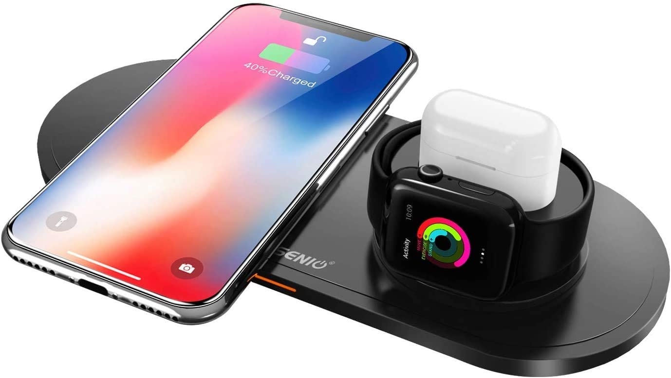 ASSENIO 3 in 1 Wireless Charger Stand Holder & Charging Station, Wireless Charging Pad Compatible with iPhone 11, Pro Max/Xs/XR/X/ 8 Plus/ 8, Apple iWatch Series 4/3/ 2/1, Airpods, Silicone