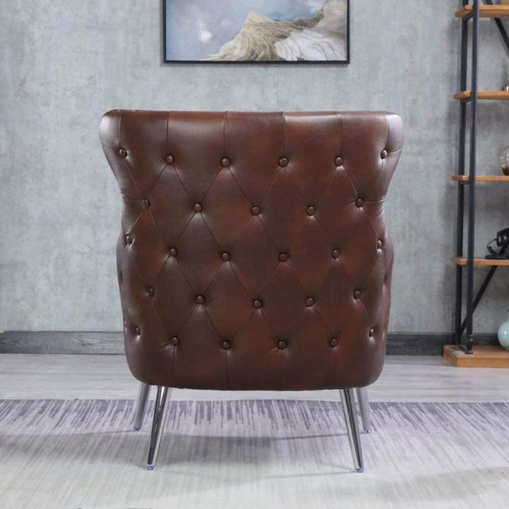 Faux Leather Brown Traditional Buttoned Armchair Occasional Accent Chair Eaton Wingback Tub Chair Bedroom and Living Room Chair