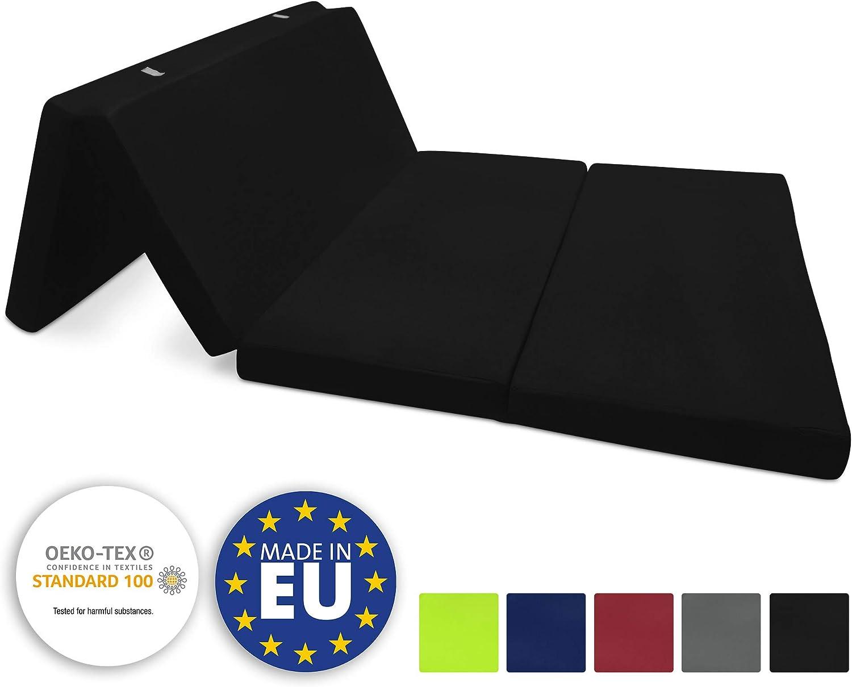 Beautissu Colchón Plegable Campix 120 x 195 x 7 cm - Cómodo y Ahorra Espacio - con Funda de Microfibra - Negro