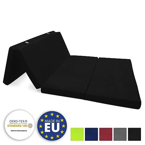 Beautissu Cómodo colchón Plegable Campix Auxiliar futón 120 x 195 x 7 cm Ahorra Espacio Tela Microfibra Negro