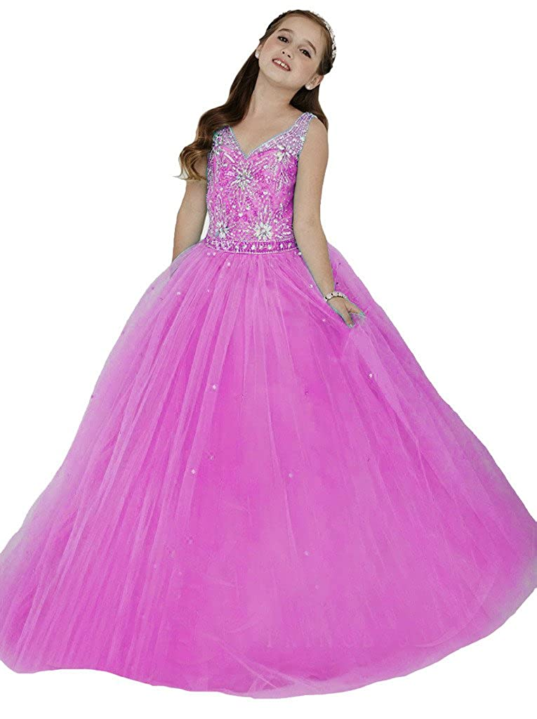 HuaMei Little Girls Crystals Princess Long Pageant Gowns