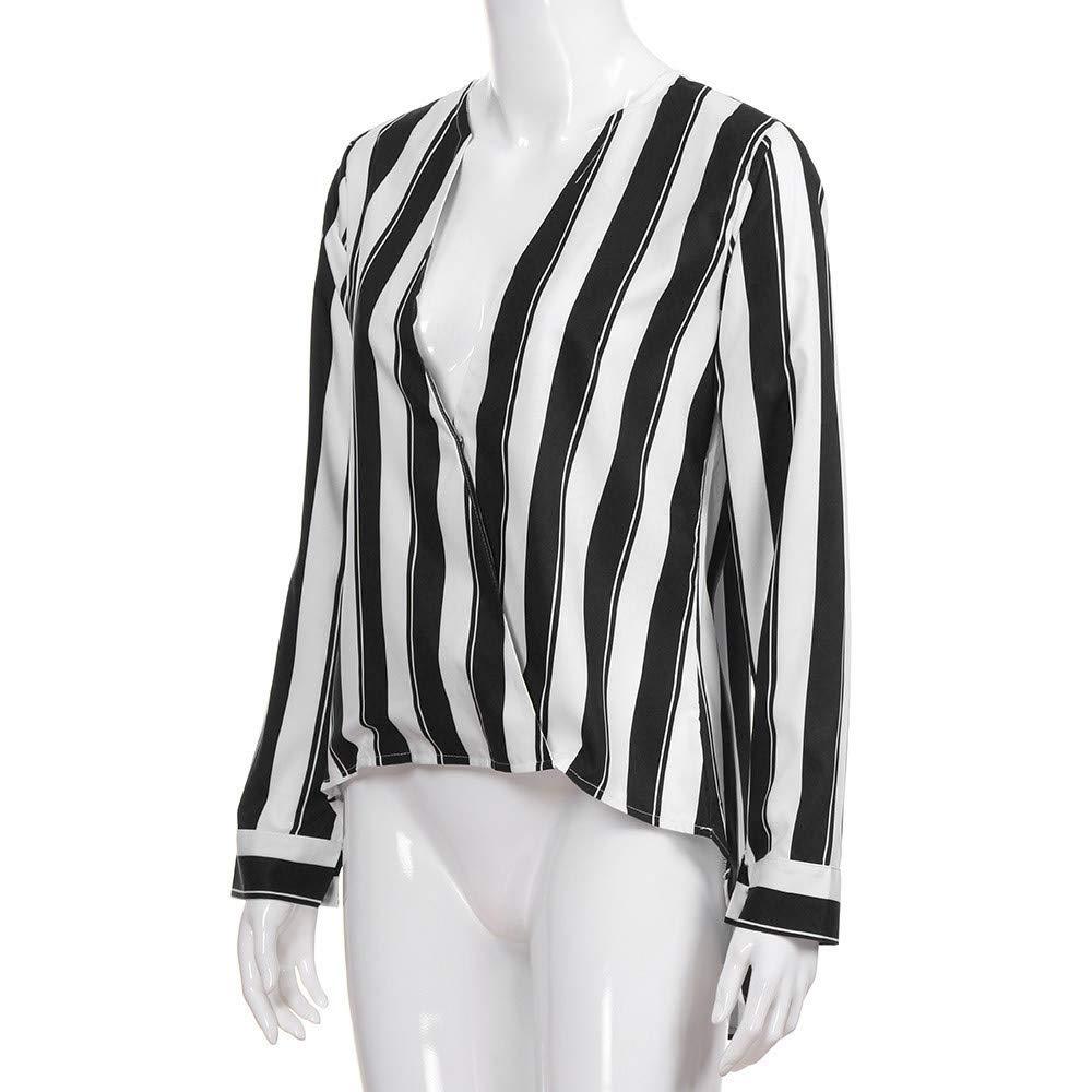 Blusa con Cuello en V de Mujer Manga Larga Sexy Tops Irregulares a Rayas Dobladillo T-Shirt ❤ Manadlian: Amazon.es: Ropa y accesorios