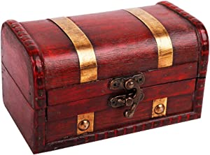 WaaHome Pirate Treasure Boxes Small Wood Treasure Chest Keepsake Box for Kids Gift,Home Decorations (5.5''X3.2''X3.2'')