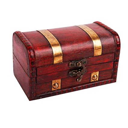 WaaHome Pirate Treasure Boxes Small Wood Treasure Chest Keepsake Box for  Kids Gift,Home Decorations (5 5''X3 2''X3 2'')