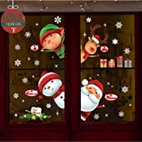 Yuson Girl Christmas Window Stickers Reusable, DIY Christmas Window Decorations Snowflake Clings Decals Deer Merry christmas Tree Santa Claus Wall Mural Home, Shops, Glass