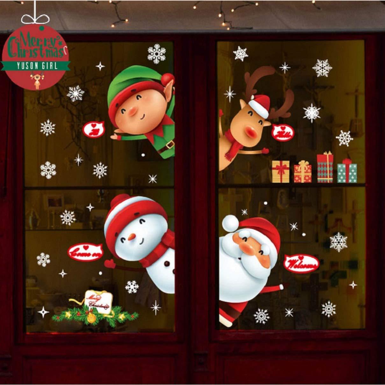 Yuson Girl Christmas Window Stickers Reusable, DIY Christmas Window Decorations Snowflake Clings Decals Deer Merry christmas Tree Santa Claus Wall Mural Home, Shops, Glass Yusongirl -Silver-2018083008-UK