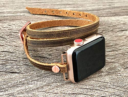 Distressed Brown Leather & Pink Rose Gold Jewelry Band For Apple Watch All Series Handmade Multi Wrap Strap iWatch Bracelet Women Jewelry Watchband ()