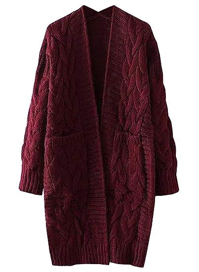 49f3891ebe9 Gamery Women s Long Sleeve Chunky Open Front Knitwear Cardigan Sweaters  Outerwear Pocket